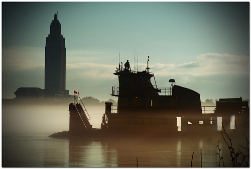water fog river landscape louisiana batonrouge mississippiriver 80mm mrgreenjeans gaylon canonef28135mmf3556isusm pushboat statecapitolbuilding artistpicks gaylonkeeling