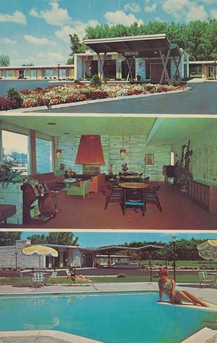 newyork vintage postcard motel gateway 1968 utica divingboard poolview entranceview lobbyview triview