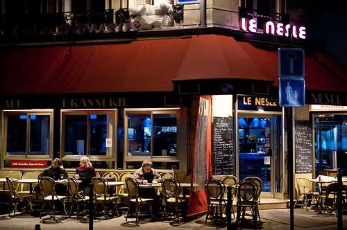 Paris café at night