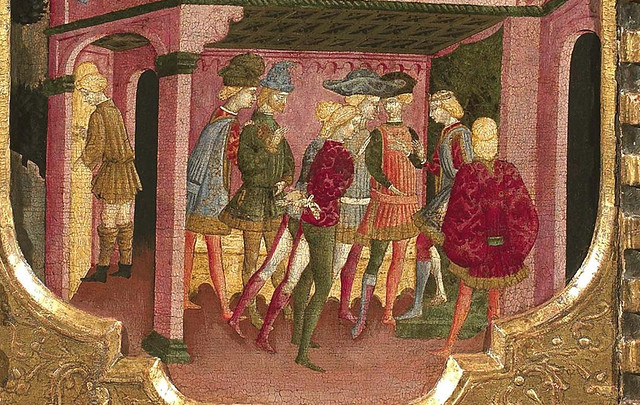 [ V ] Paolo da Visso - The front of a cassone with three scenes from Boccaccio's Teseida (1440) - Detail