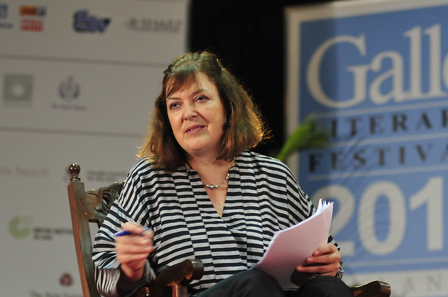 Bridget Kendall at The Forum recording at the Galle Literary Festival