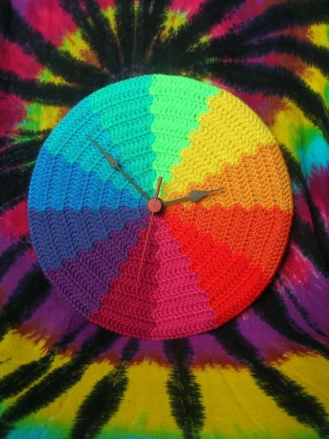Rainbow Waves Psychedelic Crochet Clock