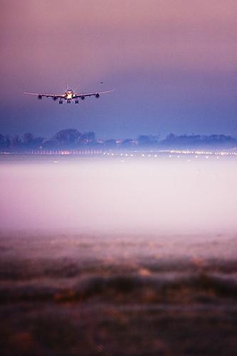 Virgin Atlantic Airbus A340-600 landing at London Heathrow