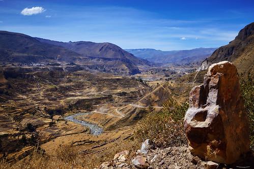 2007 canyon colca landscape mountain peru river sunny