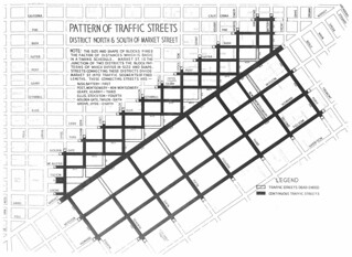 Pattern of Traffic Streets District North and South of Market Street (1929)