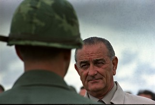 Photograph of President Lyndon Johnson Visiting with U.S. Troops in Cam Ranh Bay, Vietnam, 10/26/1966 | by expertinfantry