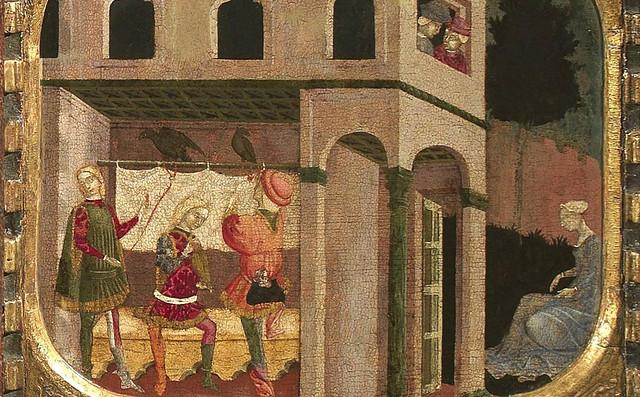 Paolo da Visso - The front of a cassone with three scenes from Boccaccio's Teseida (1440) - Detail