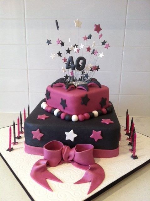 By Cakes And More Square 2 Tier Pink Black 40th Birthday Cake