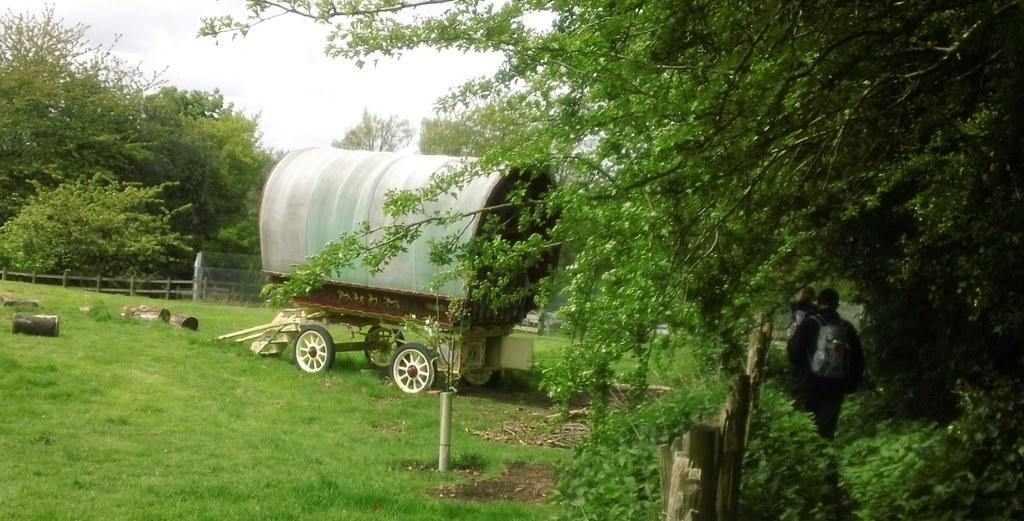 Gypsy caravan in field along the Greensand Way