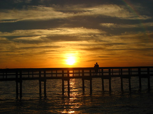 park sunset sky water pier florida fl powershots3is