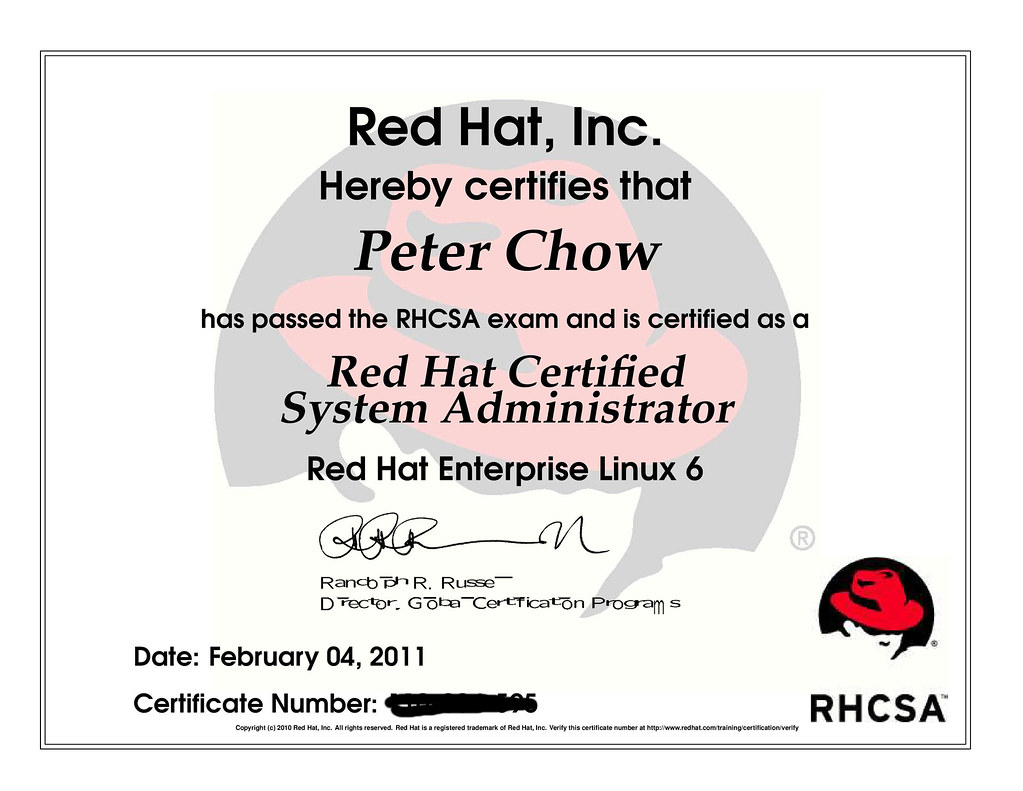 RHCSA | Recently obtained the RedHat Certified System Admini