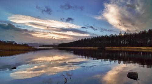 ireland lake reflection water clouds
