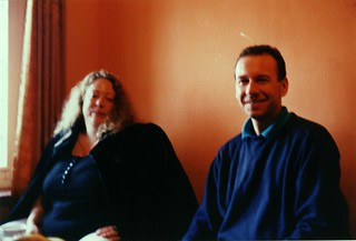 Sakya Lamdre friends, Jeanette Freeman and Gerhardt Forte, (wire in the wall behind his head), Boudha, Kathmandu, Nepal in 1990