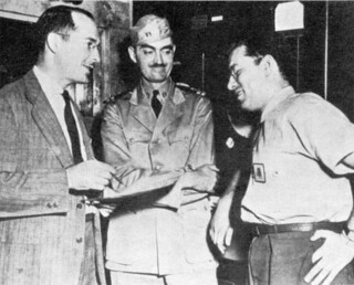 Heinlein, Asimov, and De Camp at the Navy yard in 1943.