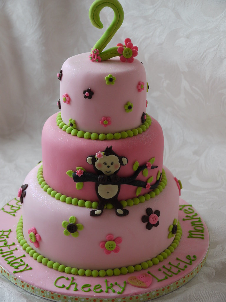 Peachy Little Monkey Three Tier Birthday Cake Three Tier 2Nd Birt Flickr Funny Birthday Cards Online Elaedamsfinfo