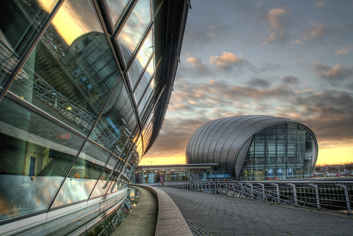 morning cinema reflection water glass modern clouds photoshop sunrise canon river eos dawn design scotland clyde theater skies dynamic britain glasgow contemporary centre united great dramatic kingdom science arcitecture higher range hdr futuristic imax topaz adjust cs4 clydeside photomatix tonemapped tonemapping 1000d