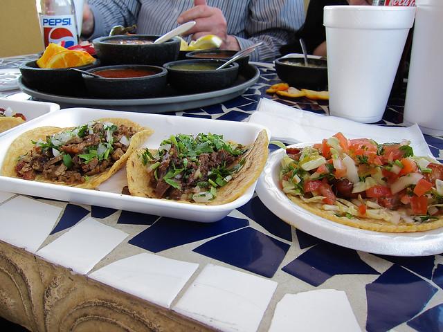 Taco feast at Taqueria Habanros.