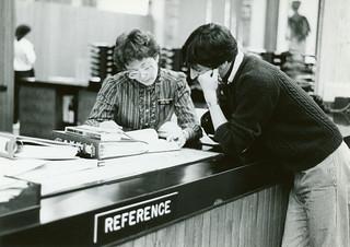 Perkins Library Reference Desk, 1970s | Repository: Duke Uni