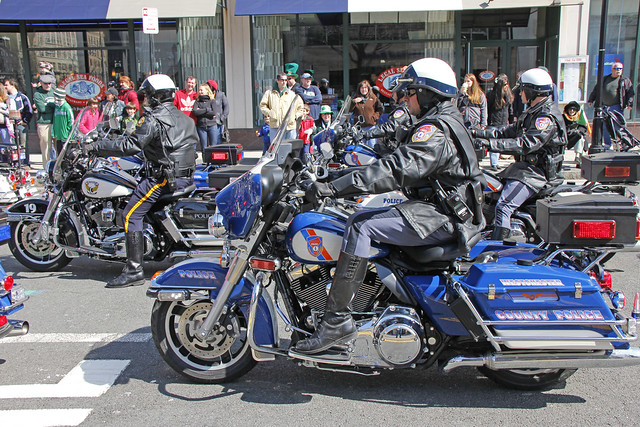 Picture City Of White Plains New York Saint Patrick's Day Held On Saturday March 12, 2011. Various Police Agency Motorcycle Units Start The Parade. - Westchester County Police Motorcycle Unit
