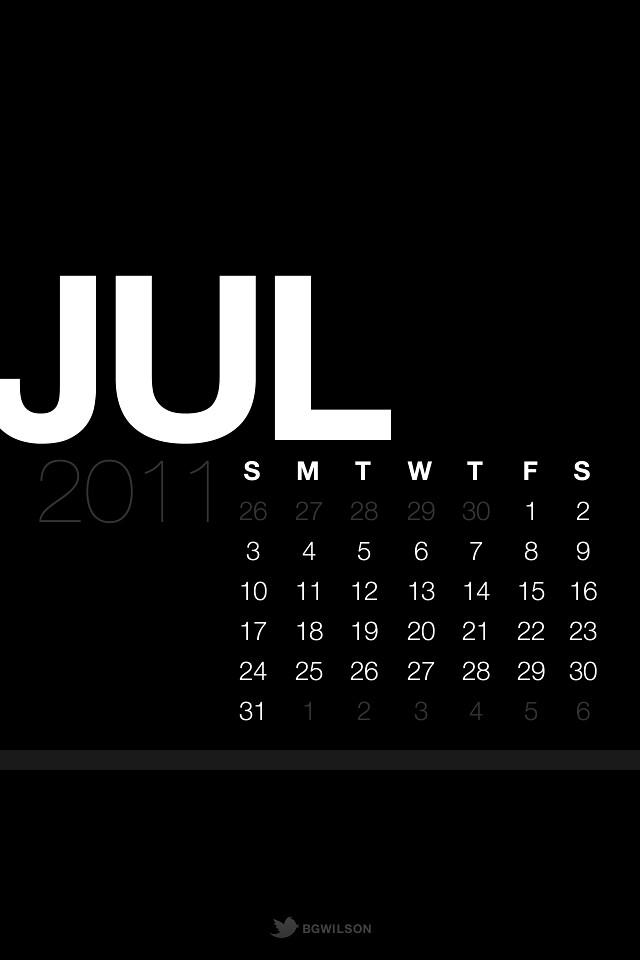 July Lock Screen Calendar Wallpaper Black Ios 4 Retina Di