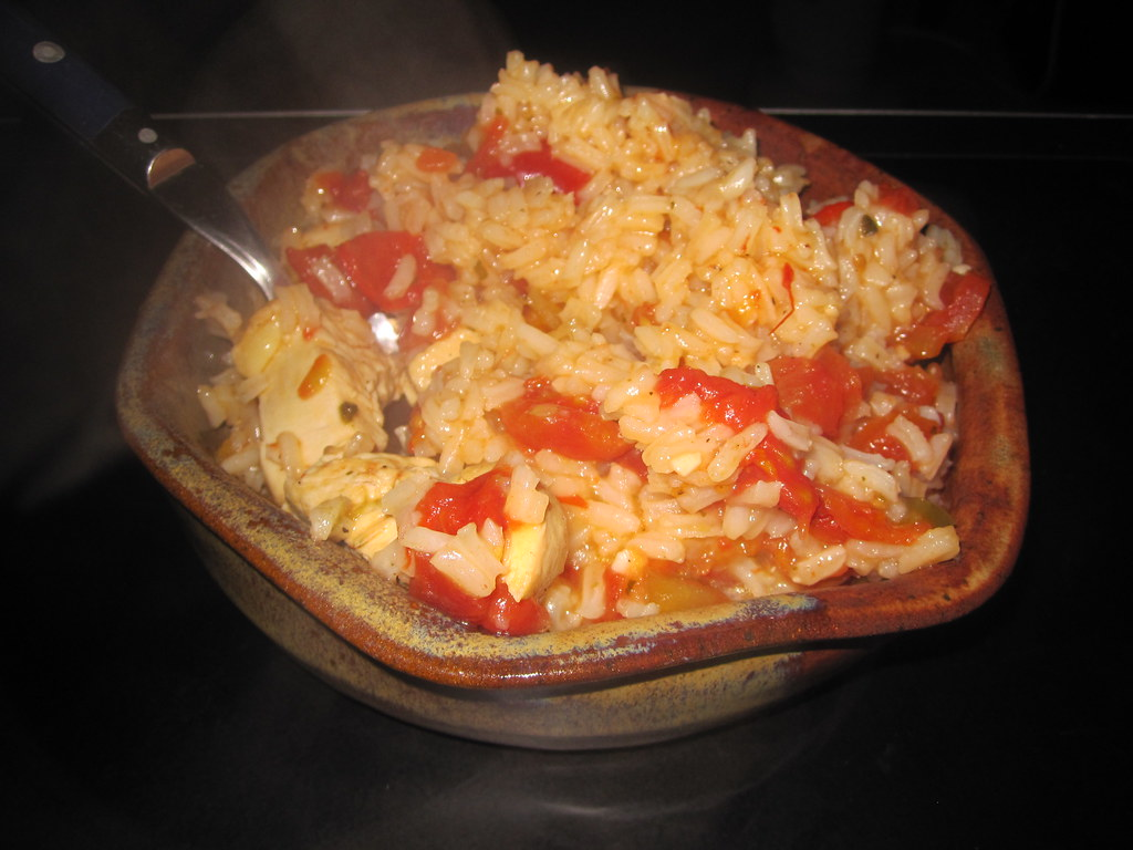 Chicken Adobo   Sunday's Dinner- rice, chicken, pimentos and