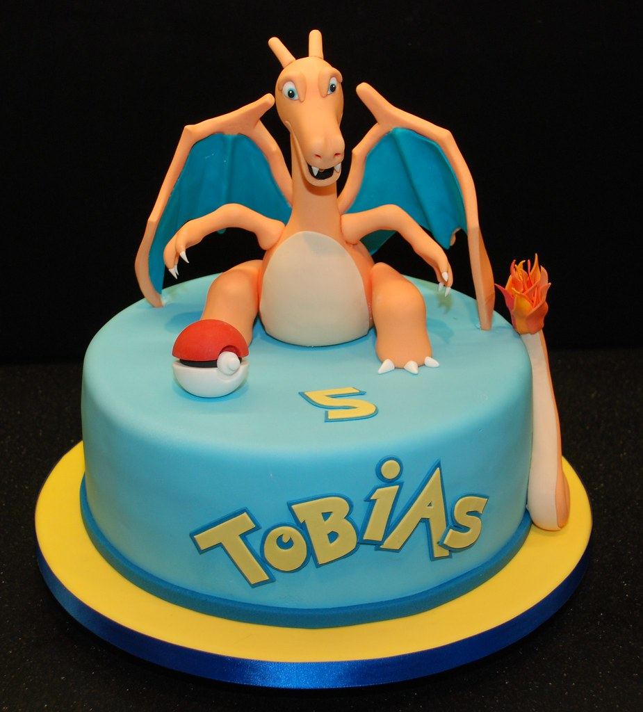 Astounding Pokemon Birthday Cake Featuring Charizard Conod Tracy Flickr Personalised Birthday Cards Bromeletsinfo