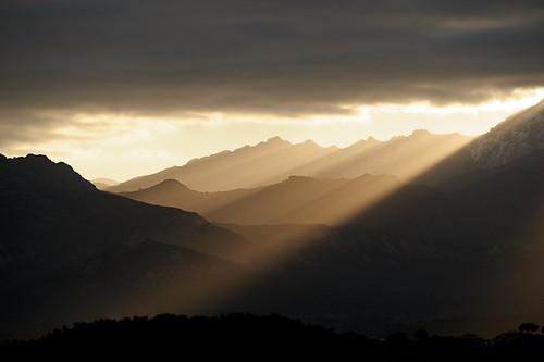 Backlight Mountain Sunrise, from Calvi, Corsica, France