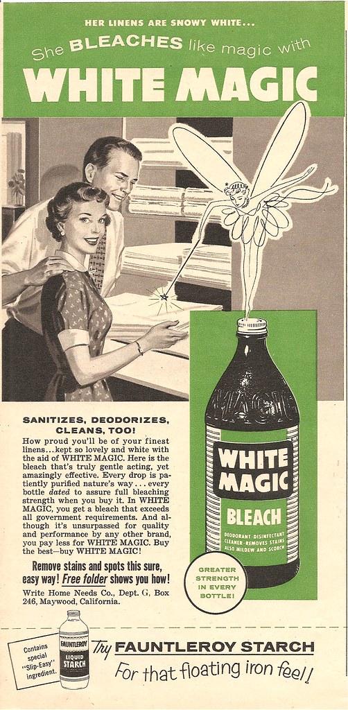 1950s white magic bleach ad | a magic bleach fairy would mak… | Flickr