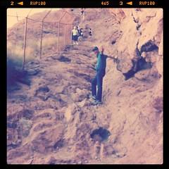 Waving while hiking