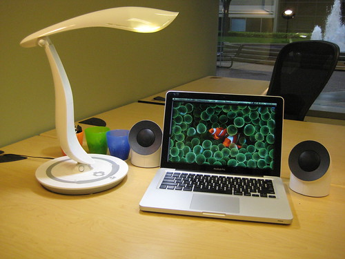 Apple Macbook Pro, Lacie Neil Poulton Speakers, IMG Lighting Desk Lamp | by imglighting
