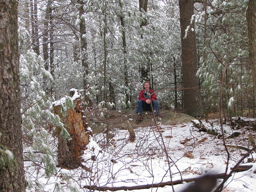 Sitting on the snowy summit of Jerimoth Hill.