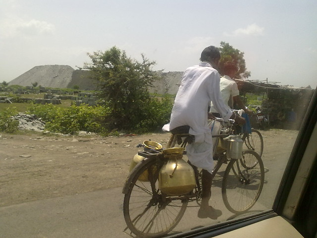 Milkman returning back, after selling the produce to market