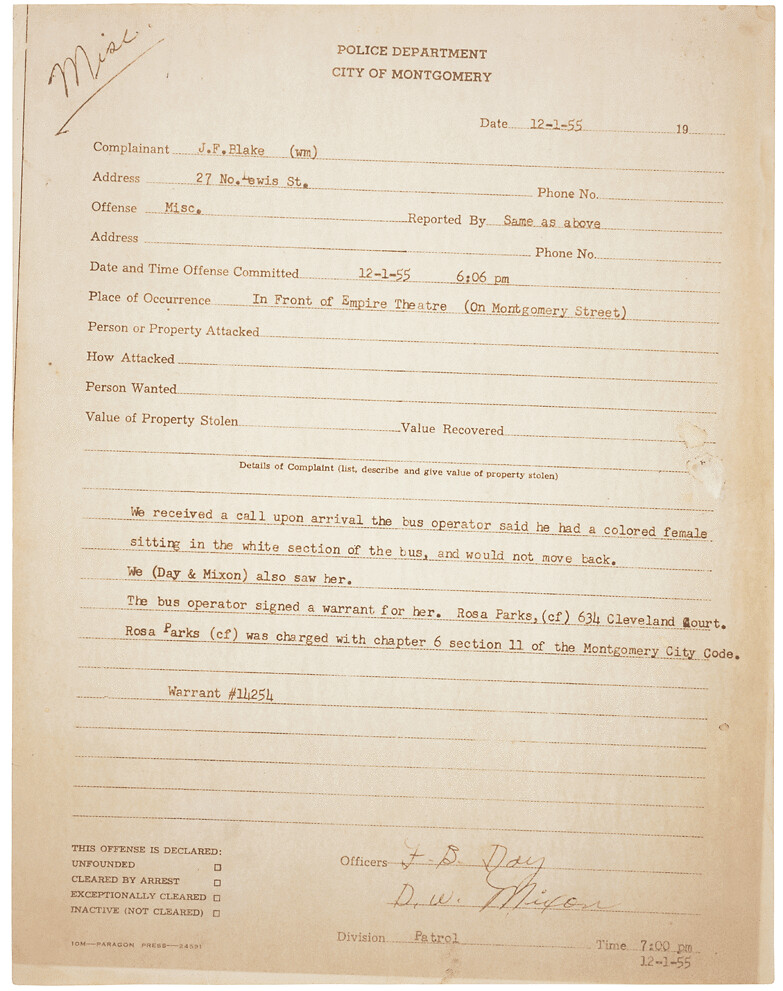 Police Report on Arrest of Rosa Parks   Original Caption: Th