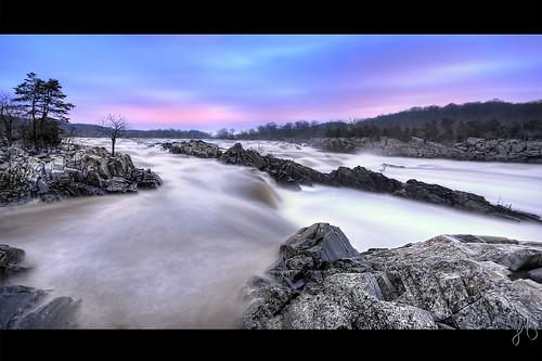 longexposure morning sky water rock sunrise river virginia waterfall rocks greatfalls rocky potomac