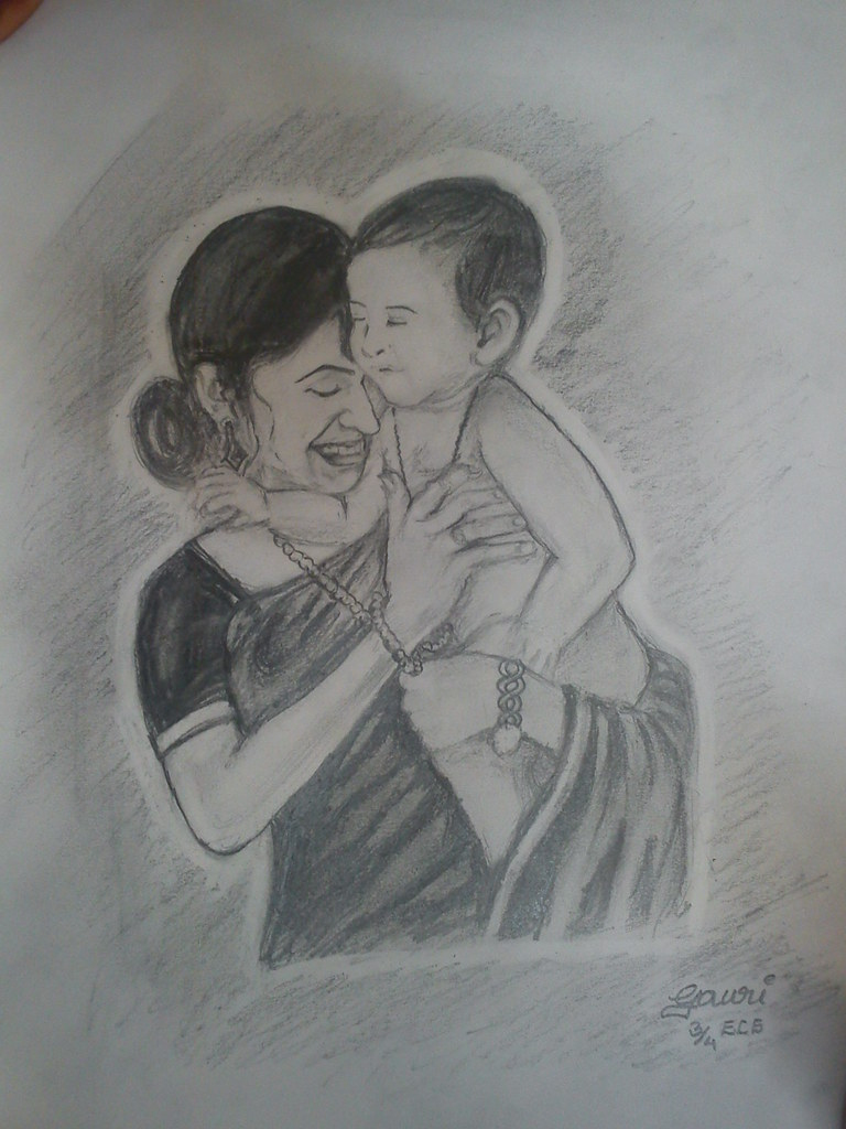 Pencil sketch of mother and child by gauri420