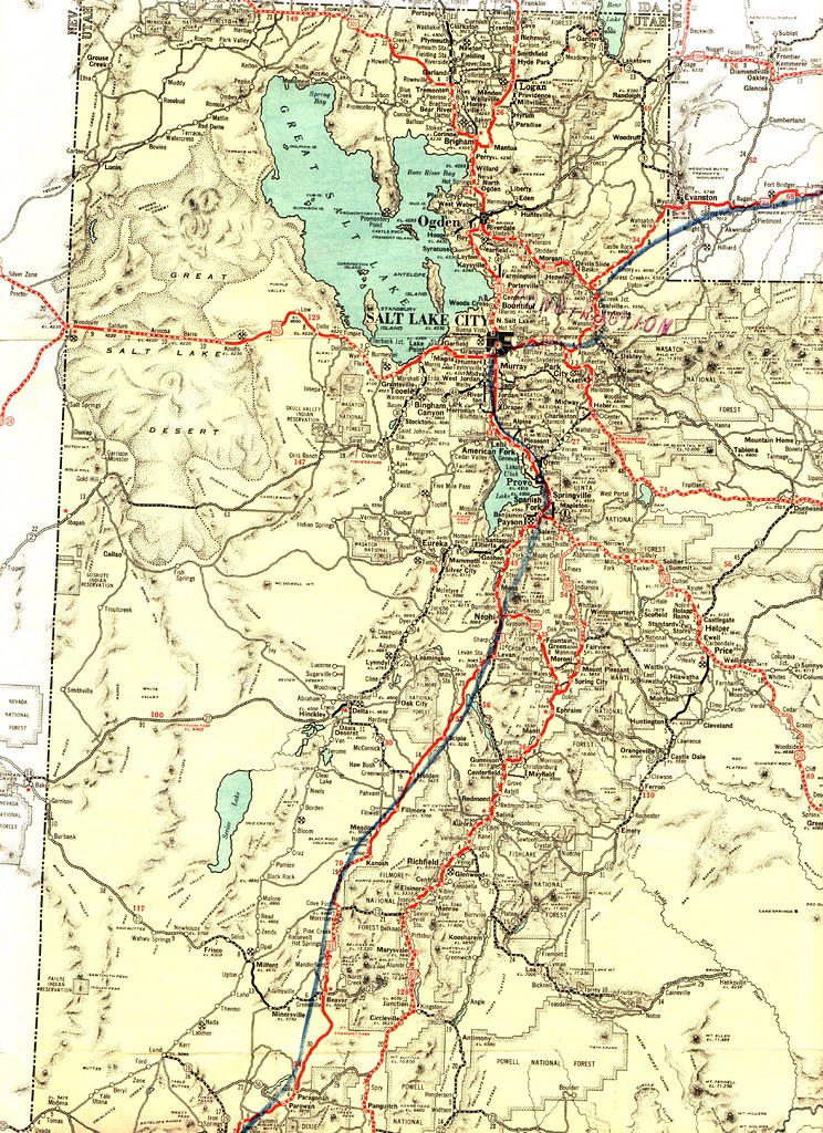 1932 Texaco Road Map | Highway Map of Utah NOTE: The route m ...