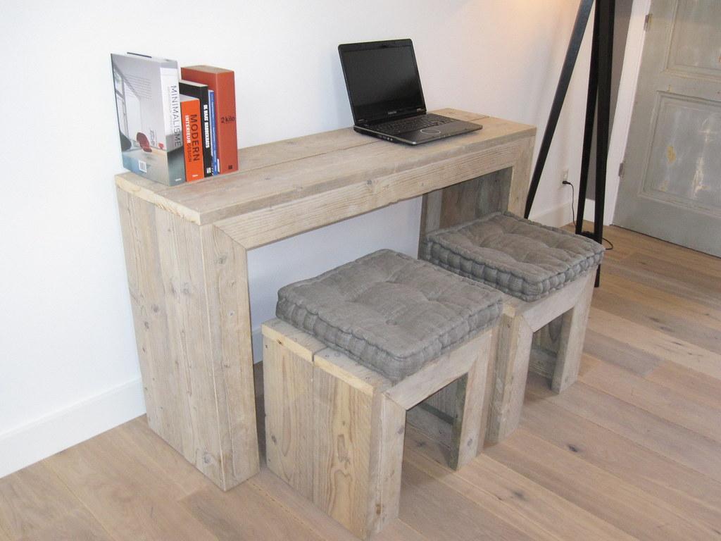 Computertafel Van Steigerhout.Pc Tafel Bureau Steigerhout Te Koop Bij W00tdesign