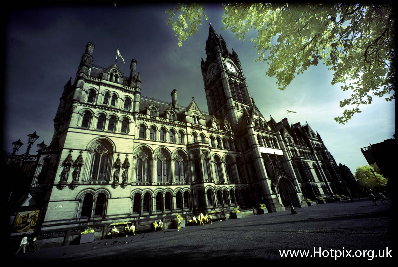 Manchester,UK,city,townhall,town,hall,gothic,building,buildings,clock,tower,tony,smith,tonysmith,tonysmithhotpix,hotpix,ir,R72,hoya,infrared,infra,red,720nm,filter,colour,color,GB,great,britain