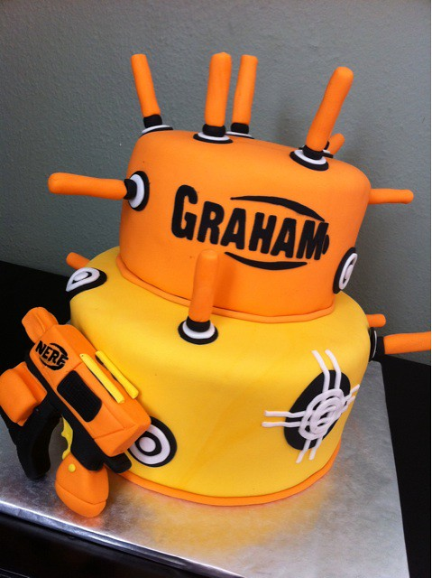 Astounding Nerf Birthday Cake Sugarmama Cakes Flickr Personalised Birthday Cards Veneteletsinfo