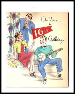1949 Greeting Card, Sweet Sixteen