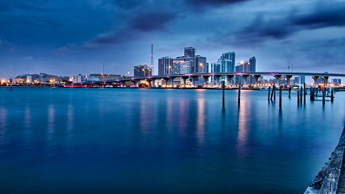 morning blue color water skyline sunrise miami hdr