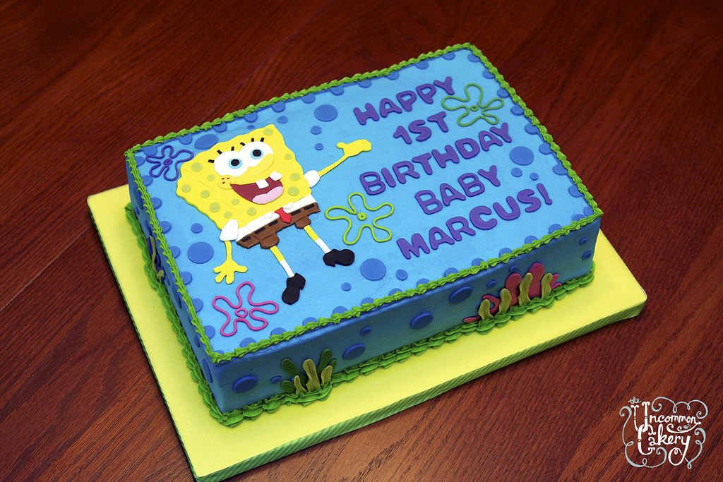 Magnificent Spongebob Birthday Cake Vanilla Cake With Vanilla Frosting Flickr Personalised Birthday Cards Bromeletsinfo