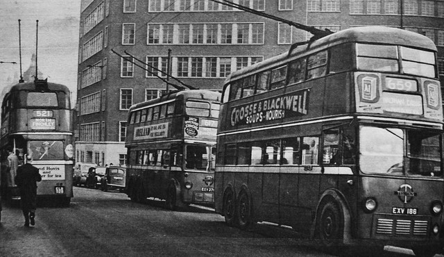 London transport trolleybuses at Holborn including 1379