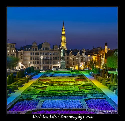 brussels europe belgium townhall bluehour hdr montdesarts kunstberg stadshuis jardindumontdesarts highpasssharpened photoengine oloneo tuinvandekunstberg alberthaplein