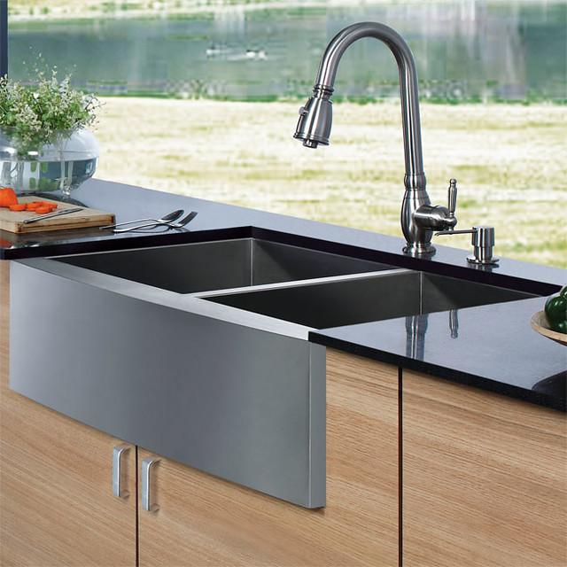 igo Platinum Collection Farmhouse Double Stainless Steel Kitchen Sink Faucet and Dispenser