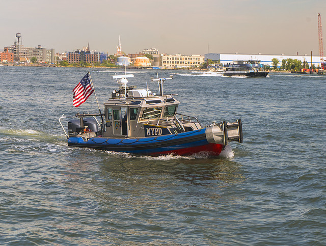 NYPD Boat Patrolling East River NYC