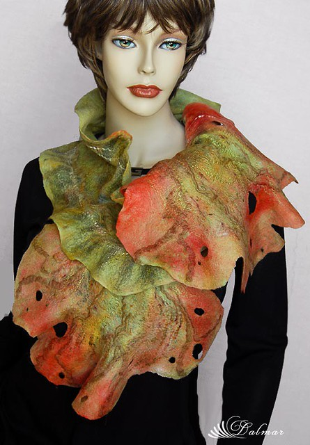 Wool Felted-Nuno Art hand dyed and painted scarf