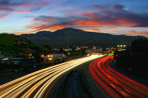 california street city morning sky clouds sunrise lights traffic overpass freeway commute walnutcreek streaks mountdiablo ygnaciovalleylighttrails
