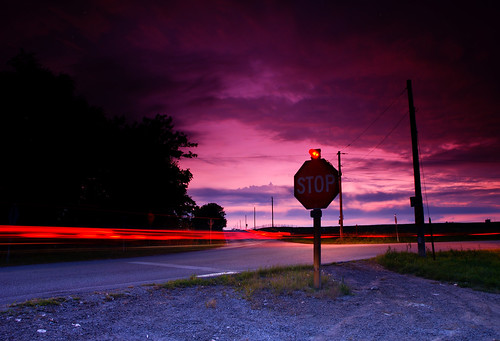 sunset stopsign nights taillights forkinroad