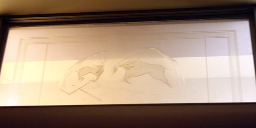 Queen Mary - Former Starboard Writing Room (Now Restroom) - Original Glass Panel (Cave Paintings) | by Miss Shari